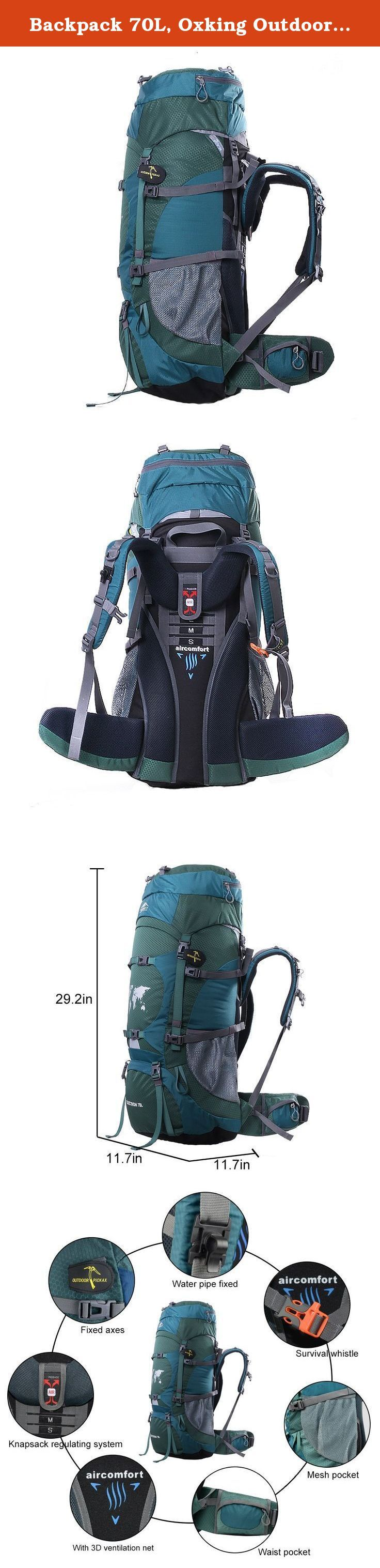 Backpack 70L, Oxking Outdoor Hiking Climbing Camping Backpack Professional Waterproof Mountaineering Bag Trekking Rucksack Large Travel Daypack. Features: 1.70L high-capacity,lightweight compact packable daypack, professional mountaineering Bag. Use SBS Zipper, YNS Brand fastener, use air cushion belt suspension system, Internal Frame Pack. 2.Super carrying professional adjustable weight decomposition system, could be adjustable according to your height, 3 sizes for the height: S/M/L...