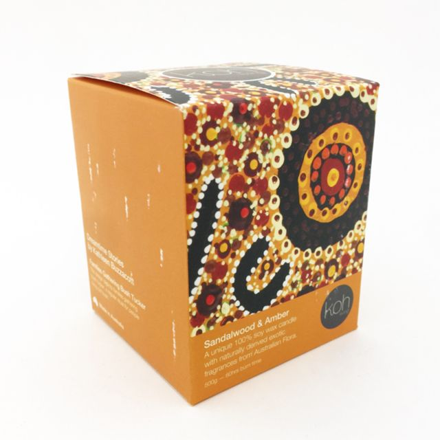 Dreamtime Stories Canister with 100% soy wax candle / Families Gathering Bush Tucker / Candle : Sandalwood & Amber