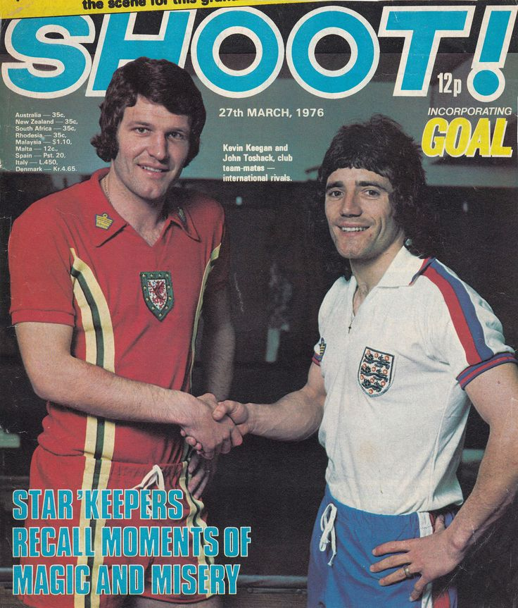 24th March 1976. Liverpool team mates John Toshack and Kevin Keegan in the colours of Wales and England.
