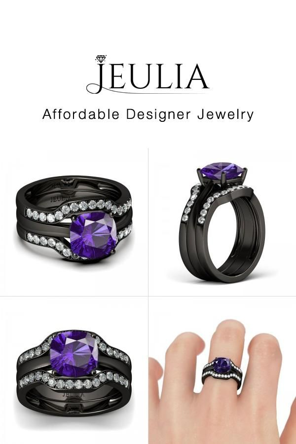 jeulia jeulia 3 piece purple wedding ring set for women cushion cut cre discover - Purple Wedding Ring
