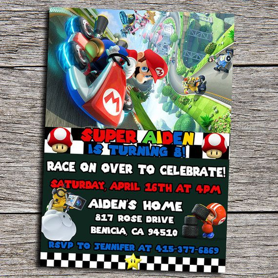 21 best images about Mario Kart Birthday Party Ideas – Mario Kart Party Invitations