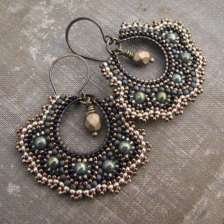 Brickstitch earrings by Sylvia Irish Windhurst on Seed Bead Art and Jewellery