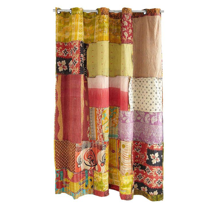 Kantha Shower Curtain - - Beautifully hand quilted from recycled saris and cloth remnants, this eclectic shower curtain offers worldly style.