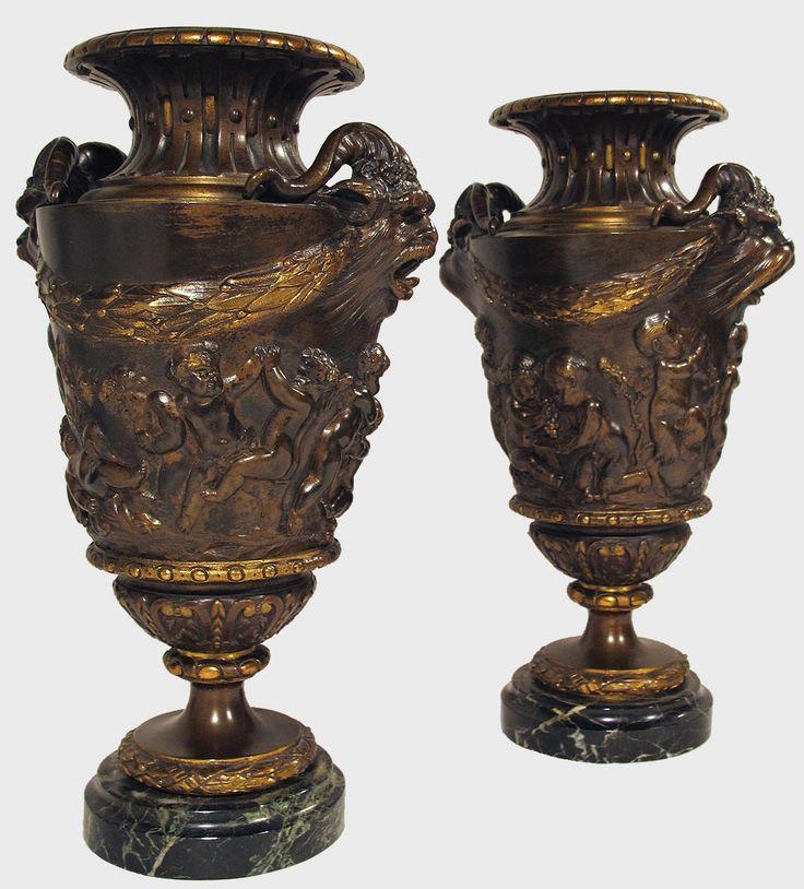 Paire de vases d'après Claude Michel dit CLODION (1738-1814).