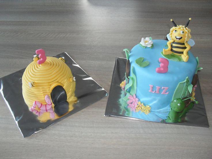 Bee cake with beehive cake/  Maya de bij taart met bijenkorf mepper