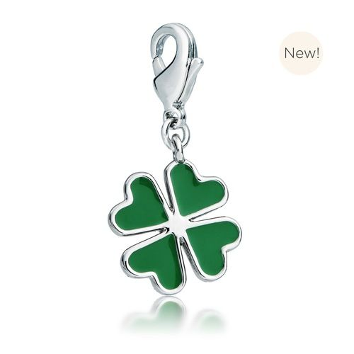 Clover Charm with Green Enamel Rhodium Plated