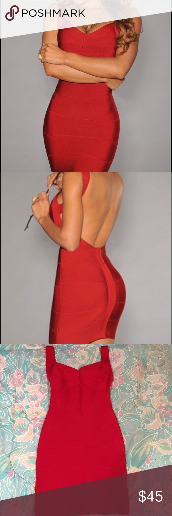 Red Bandage Dress Switch into the right gear with this curve hugging backless bandage dress from Hot Miami Styles. You can't go wrong with a little red dress! Hot Miami Styles Dresses Backless