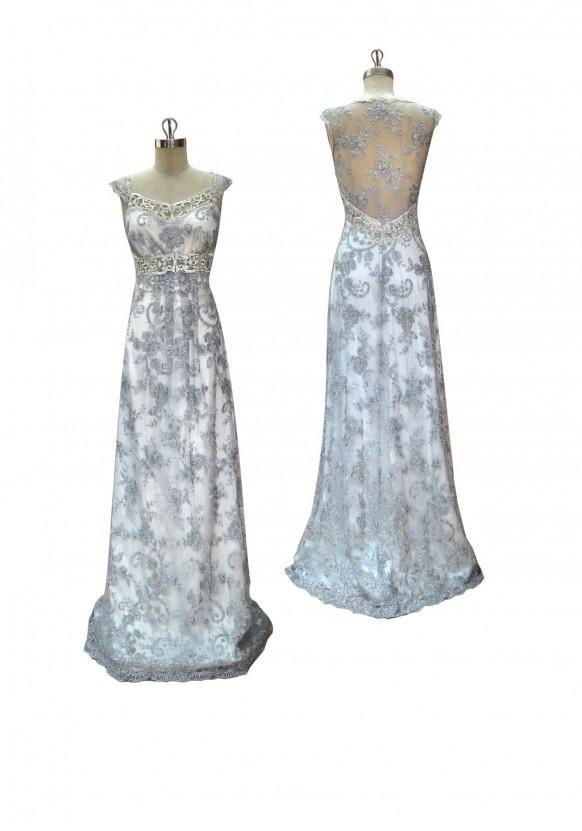 Slate guaina pizzo blu perline con la parte posteriore pura e abbellimenti guipure d'argento rivestite in seta perla