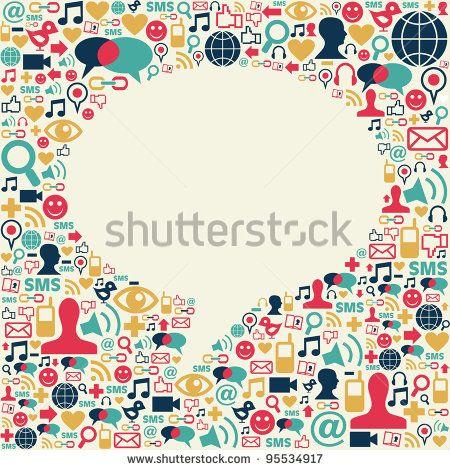 Fondo de composición de textura de iconos de medios sociales en forma de globo de diálogo Archivo del vector disponible.