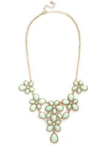 Court and Sparkle Necklace - Mint, Gold, Solid, Flower, Rhinestones, Pastel