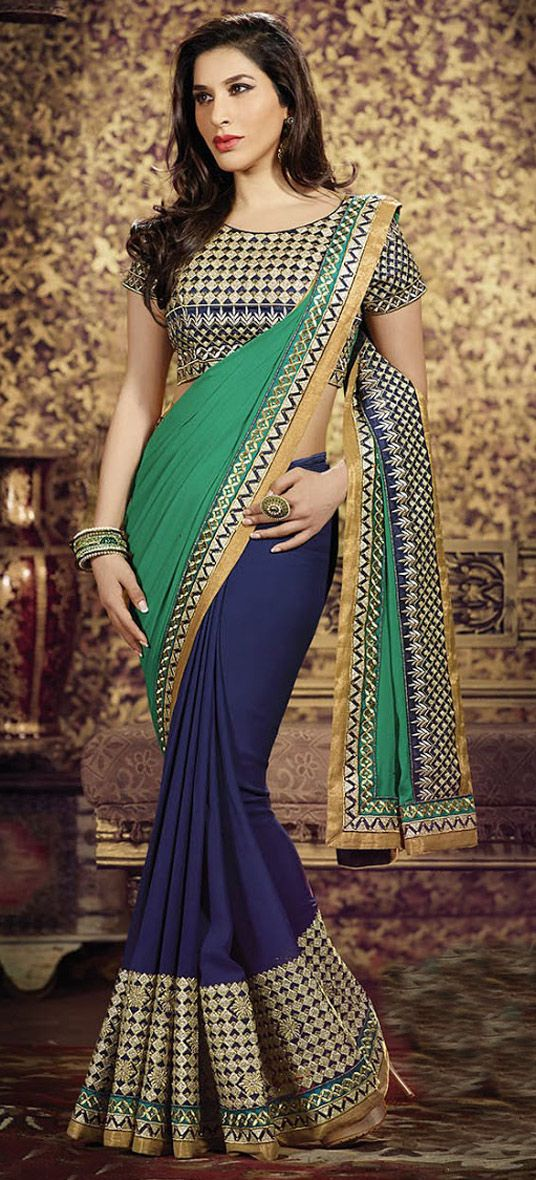USD 75.58 Sea Green Weight Less Party Wear Saree 44660