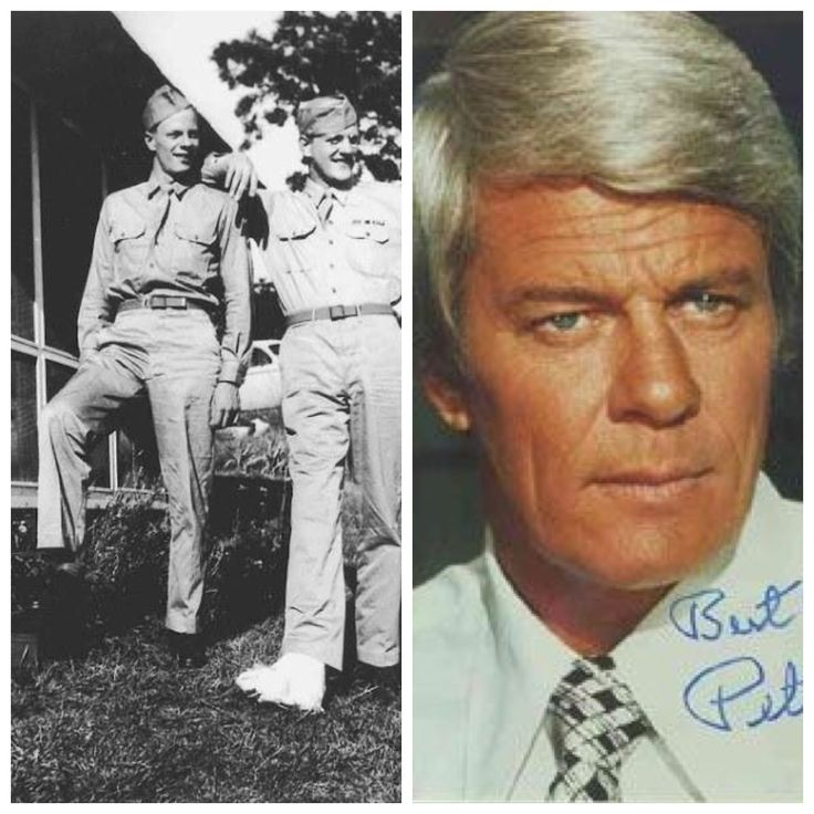 Peter Graves (left) with brother James Arness (whiich I didn't know-checked and its true) during WWII. Peter Graves (born Peter Duesler Aurness; March 18, 1926 – March 14, 2010) spent two years in the United States Army Air Forces near the end of World War II. He was a film and television actor best known for his role in the television series Mission: Impossible.