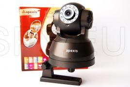 """Mobile IP camera Apexis   :  http://spy.eu/ip-cameras-spy-shops/865_IP09.html  This camera is capable of two-way audio connection and can be moved horizontally and vertically. There are 6 mm, F 2.8 lens with 1/4 """"CMOS sensor. Video compression is MJPEG, and resolution is 640x480/15 320x240/30 fps or fps. Has infrared LEDs for night vision and ability to work without them, minimum illumination 0.5 Lux."""