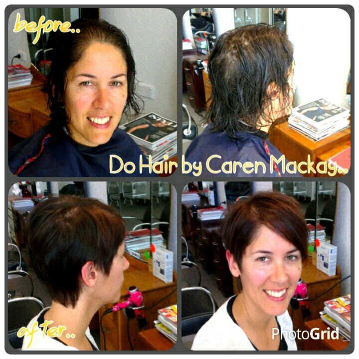 Short cropped haircut for fine hair.. Textured mahogany + copper weaved colour through the fringe..
