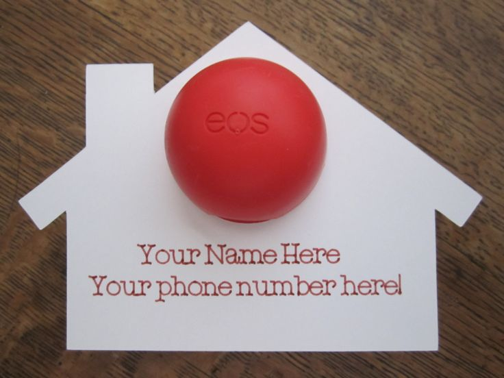 "Realtor Real Estate Agent ""pop-by"" Hand Out with EOS lip balm (not included) set of 10 cards by YellowFoxDesign on Etsy"