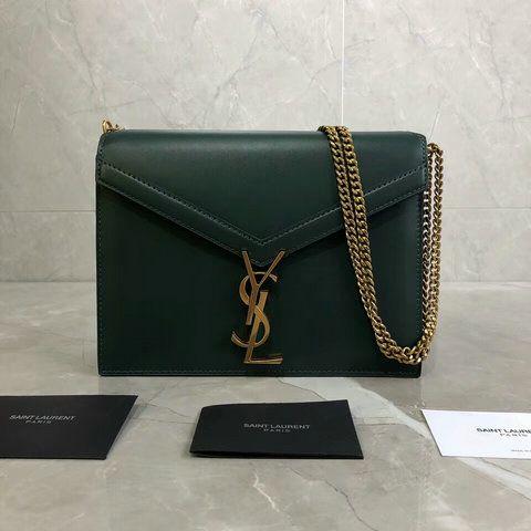 7a6e5dea4d7 2018 Saint Laurent Cassandra Monogram Clasp Bag in Green Smooth Leather