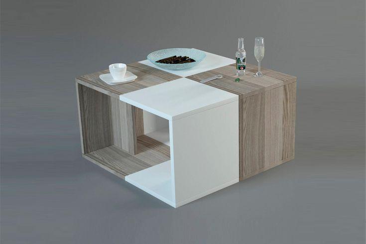 vente wooden art 21805 tables basses table basse doodle imitation bois clair et blanc. Black Bedroom Furniture Sets. Home Design Ideas