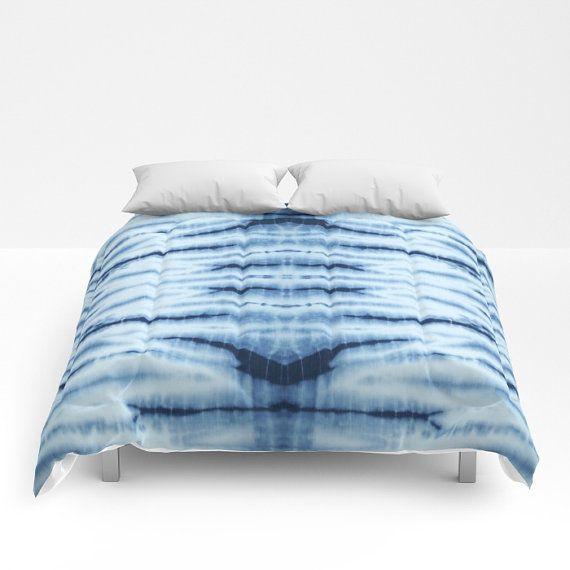 Duvet Cover, volle Königin König Shibori Bettdecke blau, Tie Dye Bettwäsche, blaue abstrakte Bettdecke, Bettdecke blau, Indigo Boho Bettwäsche, blaue Tröster