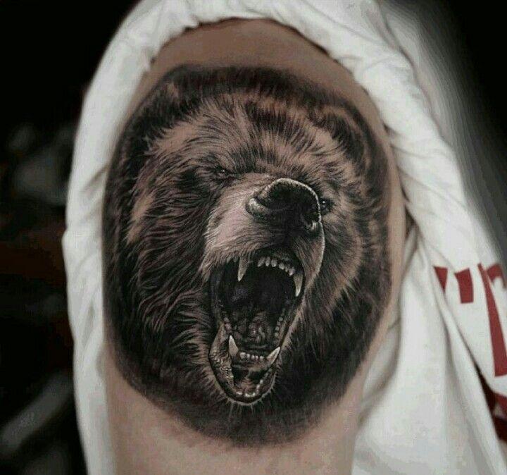 тату медведь наброски фото блестящие сердечки