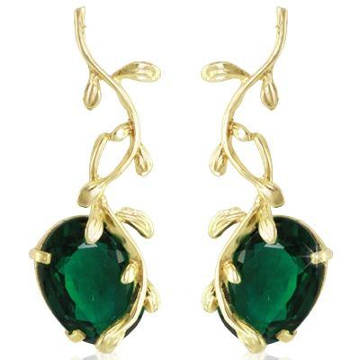 Par de brincos em ouro 18k com cristais esmeraldas