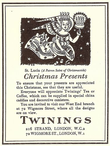 """""""Christmas Presents"""" - Twinings Tea advert, from Punch magazine, by Edward Bawden"""