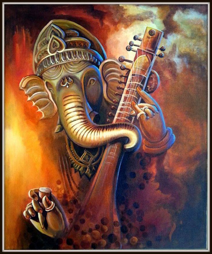 "Saatchi Art Artist jay bhagatwala; Painting, ""Singing Ganesha"" #art"