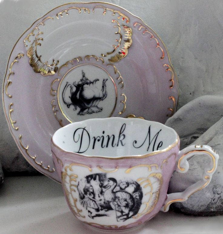 Alice in Wonderland Pink & Gold Teacup / Saucer Set, Pick Your Character, Lewis Caroll Teacup, Alice Tea Party, Wonderland Mug Cup by AngiolettiDesigns on Etsy https://www.etsy.com/listing/483401910/alice-in-wonderland-pink-gold-teacup