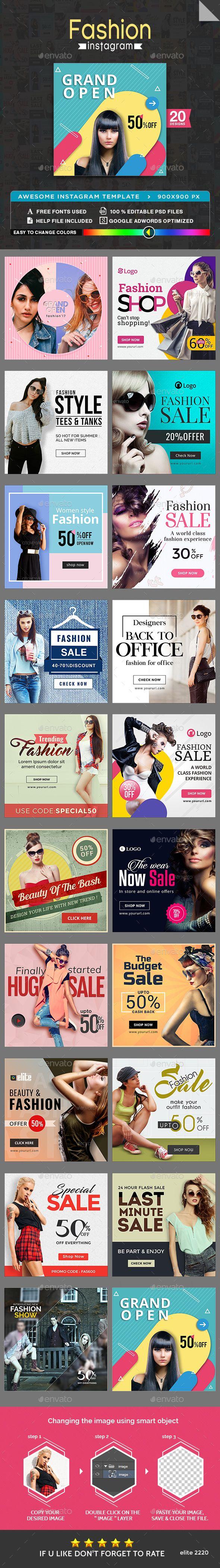 Fashion Sale Instagram Banner Templates PSD  - 20 Designs