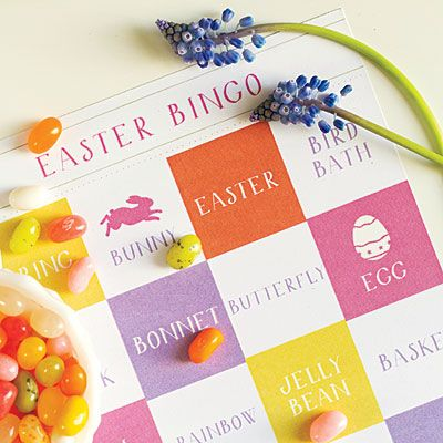 Printable Easter Bingo | Keep the kids entertained with a round of our Easter Bingo, using jelly beans as the markers. Print your own Easter Bingo cards at southernliving.com/bingo.