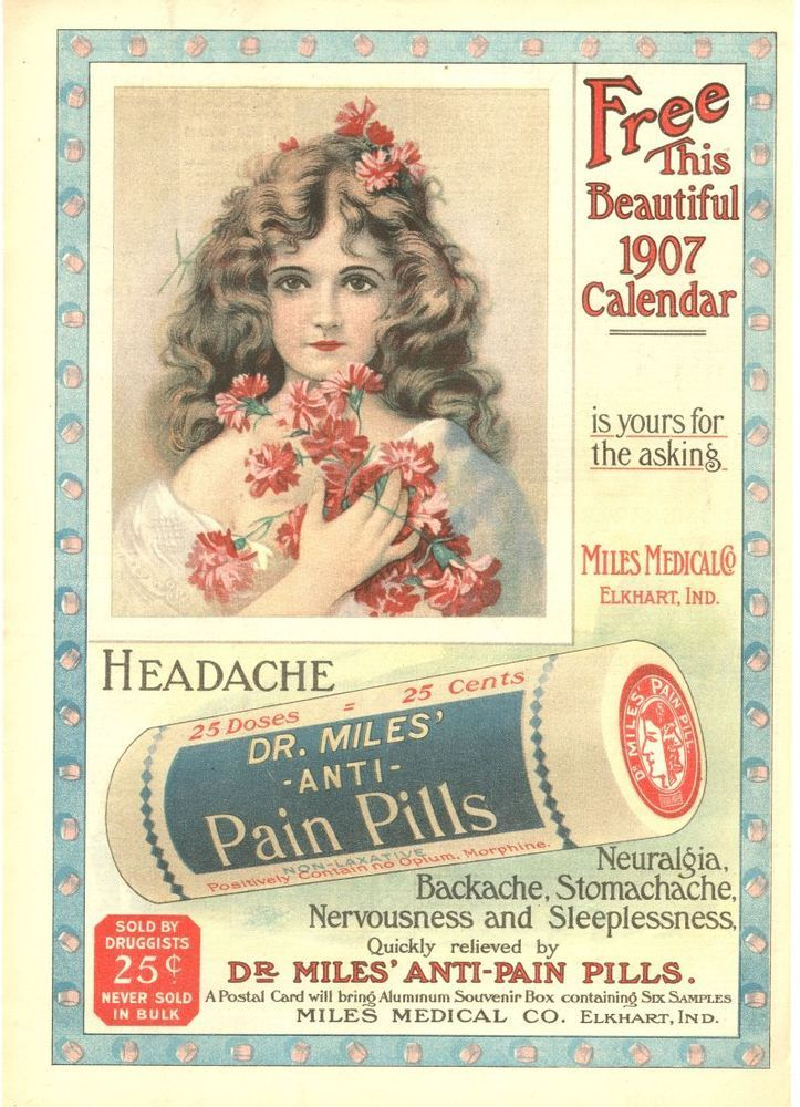 Dr  Miles' Anti Pain Pills - Pretty Girl - Calendar Advertisement