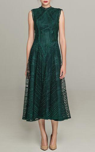 Guipure Lace Backless Midi Dress by COSTARELLOS for Preorder on Moda Operandi