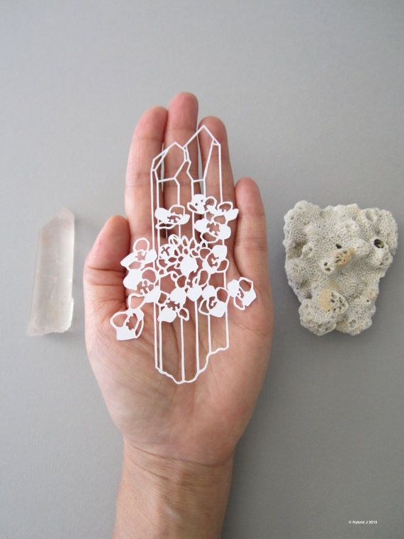 MINI Magical Flower and Crystals Papercut  Alyssum and by HybridJ