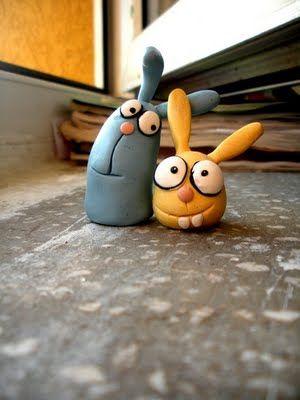 polymer clay toys.rabbits handmade work