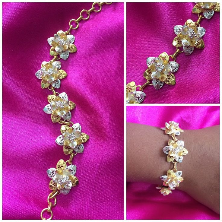 Gold plated Silver Filigree Bracelet handmade in Cuttack by Silver Linings