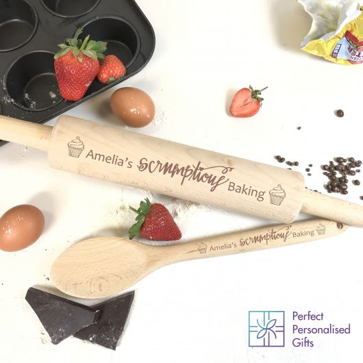 Scrumptious Rolling Pin & Wooden Spoon Set.  This beautiful wooden rolling pin and wooden spoons set make the perfect gift for anyone who loves baking.  The wooden spoon and rolling pin is individually engraved with cupcakes at each end and then any name can be added to the message.  The wording 'scrumptious baking' is fixed text.