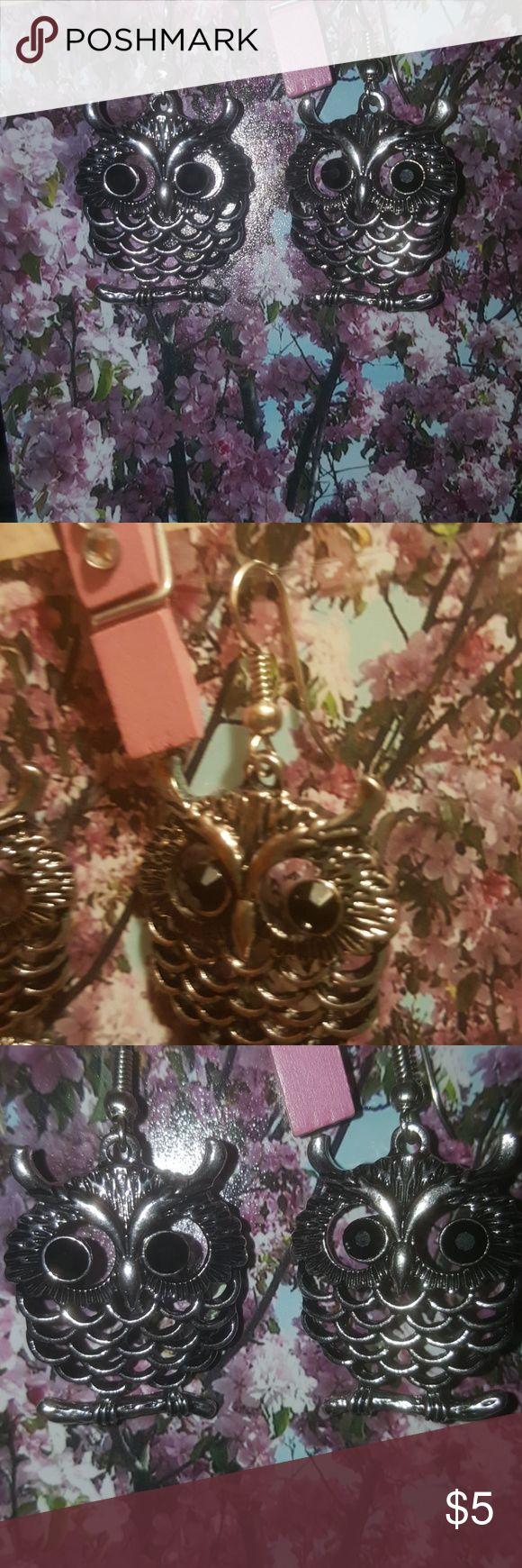 Owl Earrings Never worn. Silver Owl Earrings. Jewelry Earrings