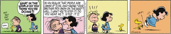Do NOT piss off the birdie. Peanuts for 5/27/2014   Peanuts   Comics   ArcaMax Publishing