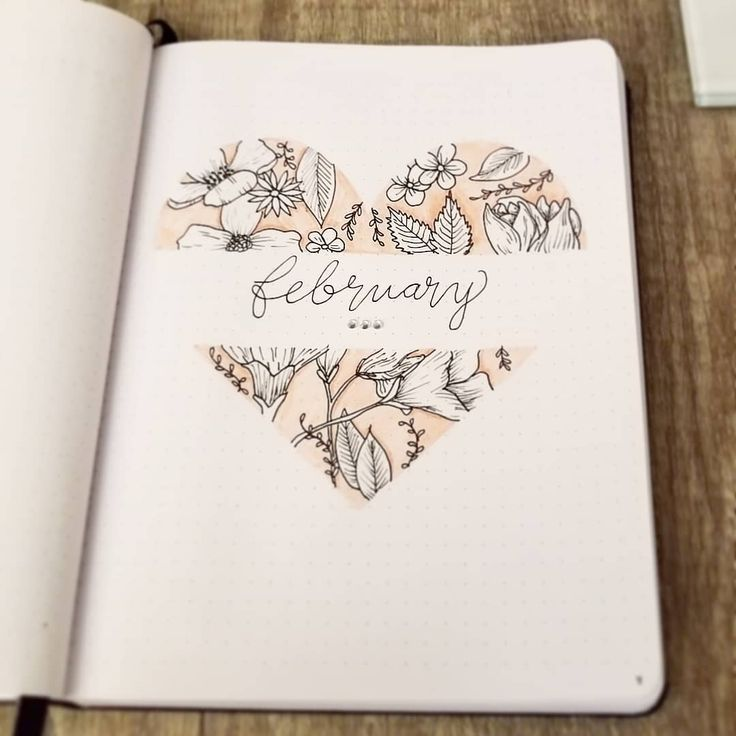 My February bullet journal title page.