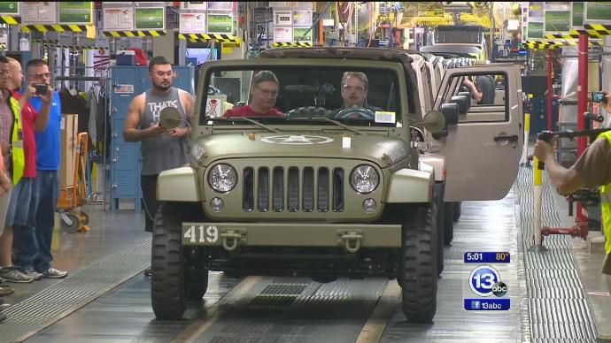 75-year commemorative Jeep Wrangler rolls off Toledo assembly line