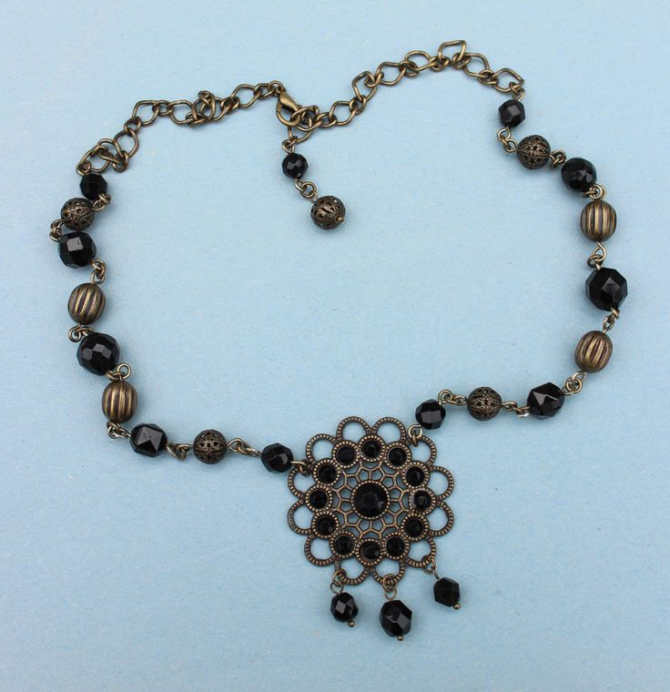 Brass & Black Rhinestone Pendant with Brass & Black Crystal Bead Necklace