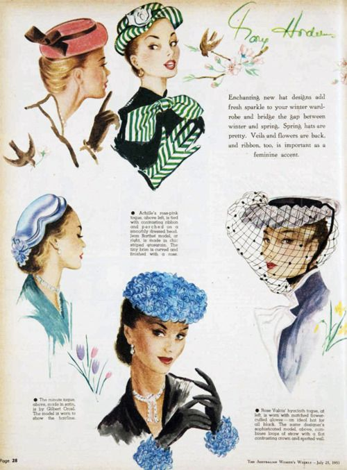 Hats by Achille, Rose Valois, Gilbert Orcel, Jean Barthet. 1951. 50s hat ad photo print ad illustration