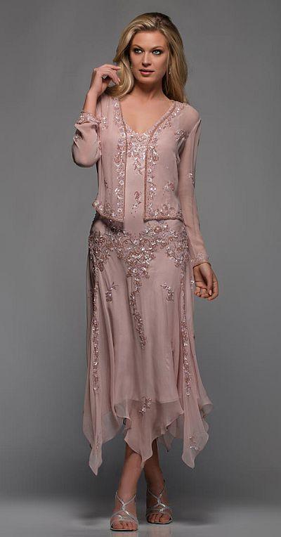 Scala Hanky Hem Mother of the Bride Dress 25395 - French Novelty