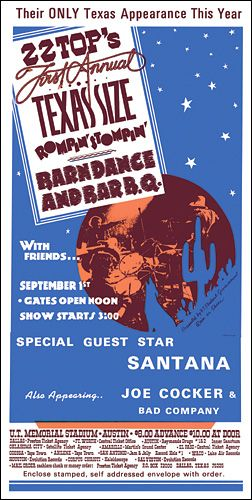 Z Z Top Santana Concert Poster Joe Cocker Bad Company Concert Posters