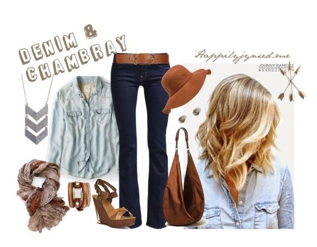 """""""Tricky Trend; Denim & Chambray"""" by happilyjynxed ❤ liked on Polyvore featuring La Mer, American Eagle Outfitters, 7 For All Mankind, Maison Boinet, Carvela, The 2 Bandits and Ann Taylor"""