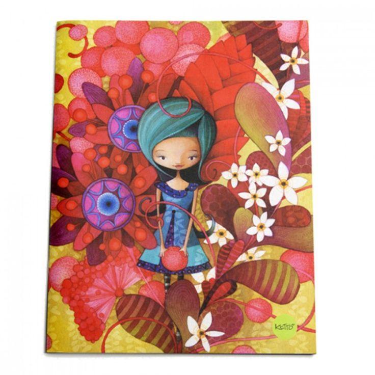 Cahier Dame en Bleu KETTO Notebook Lady in Blue // Couverture souple. 80 pages lignées. // Soft cover. 80 lined pages. // #Cahier #Notebook #Ketto