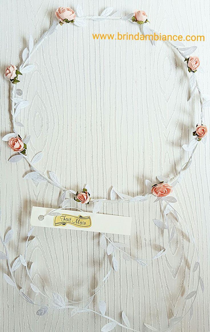 Bandeau à cheveux avec fleurs saumons et ruban blanc - Fait-main par Brin d'ambiance Dinan Headband with salmon flowers and white ribbons - Hand made by Brin d'ambiance Dinan