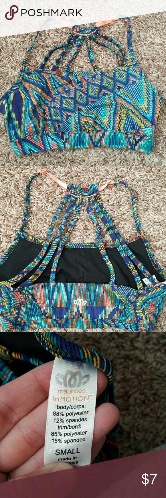 Multi colored sports bra Purple, blue, teal, yellow and coral patterned sports bra with scrappy back. NWOT Maurices Intimates & Sleepwear Bras