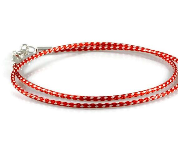 Simple Red Wrap Bracelet. Mens Sterling Silver Rope Bracelet. 1.5mm White Red Paracord Bracelet. Mens Stacking Wrist Band. Boyfriend Gift.