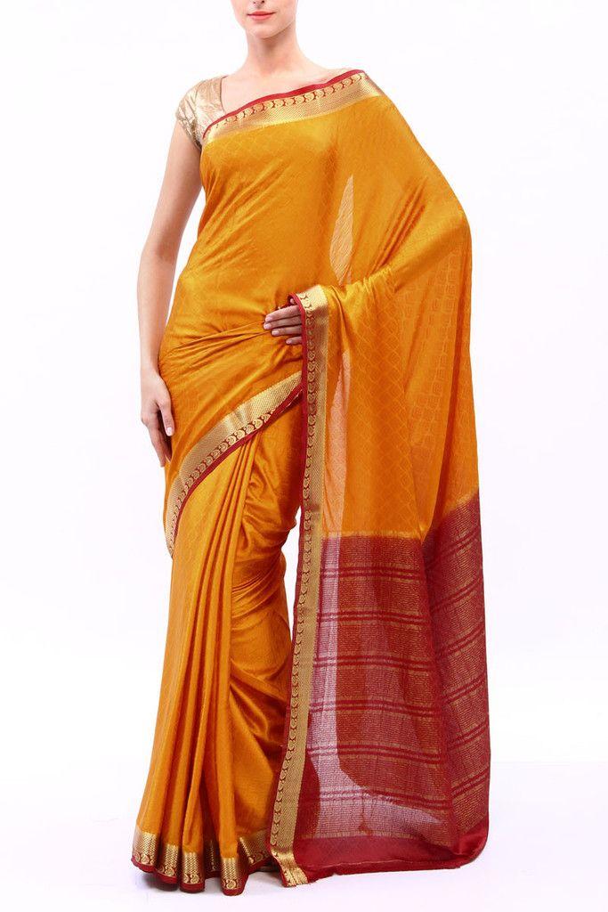 Golden Yellow Mysore Crape Silk Saree