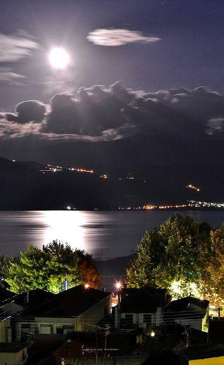 night by moonlight.. Ioannina, Epirus, Greece (by Michael Vakaros)